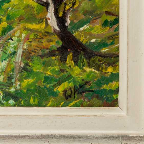 """KIMMICH, Wilhelm, ATTRIBUIERT (1896-1986), """"Frühlingslandschaft mit blühenden Bäumen an einem Weiher"""", - Foto 3"""