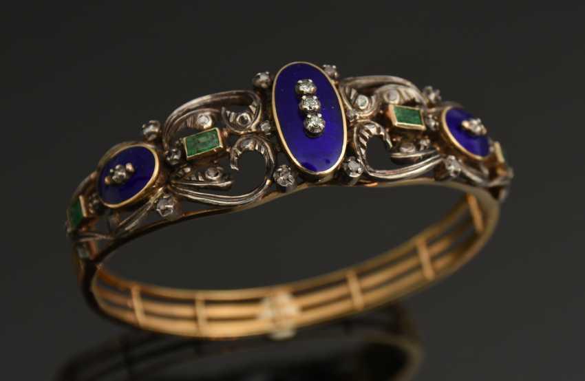 Lot 341  BANGLE bracelet, 19 K WG/yellow gold, hallmarked, probably