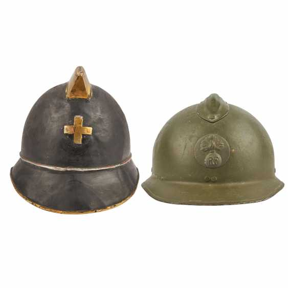 2 helmets - Switzerland and France. Firefighter's helmet probably. around 1900, - photo 1