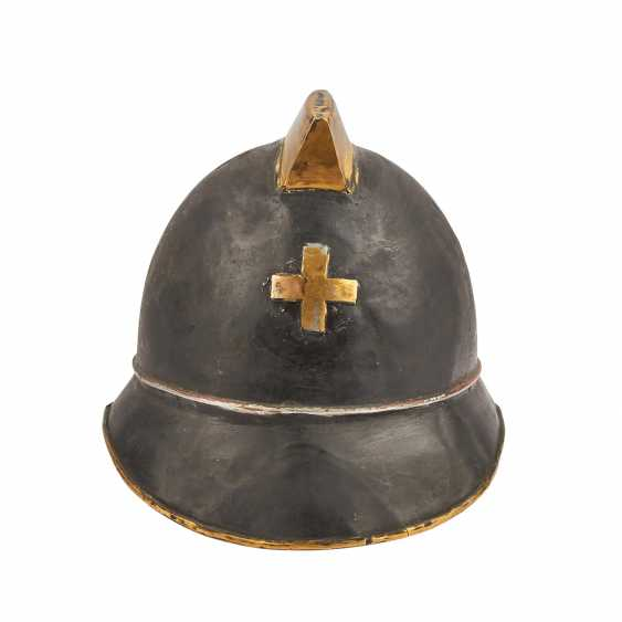 2 helmets - Switzerland and France. Firefighter's helmet probably. around 1900, - photo 2