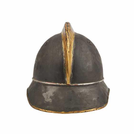 2 helmets - Switzerland and France. Firefighter's helmet probably. around 1900, - photo 4