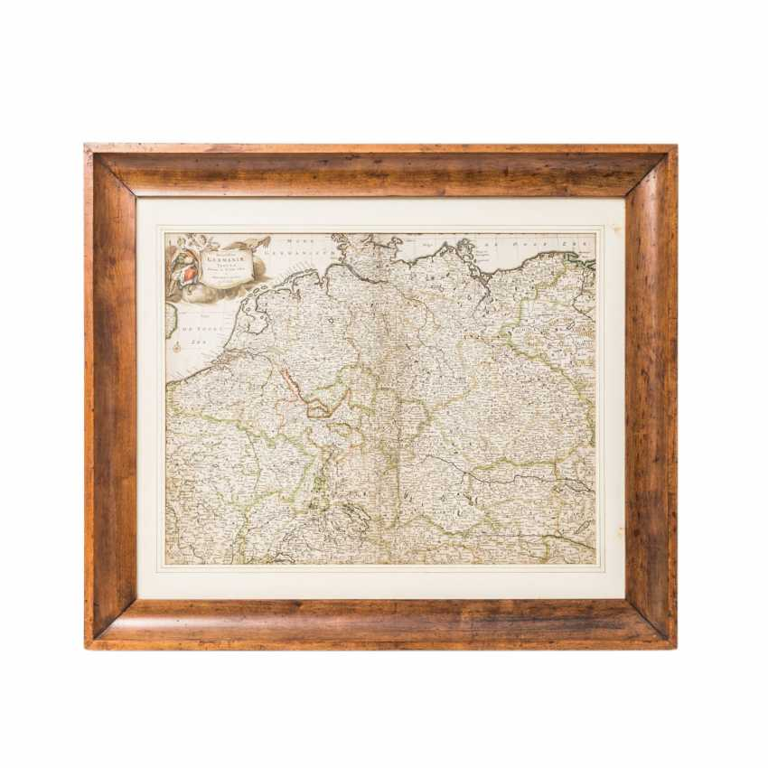 """Hist. Copper engraving, map of Germany, probably a reprint of the 19th century. Century. - """"Accuratissima Germaniae Tabula Solutions in lucem - photo 1"""