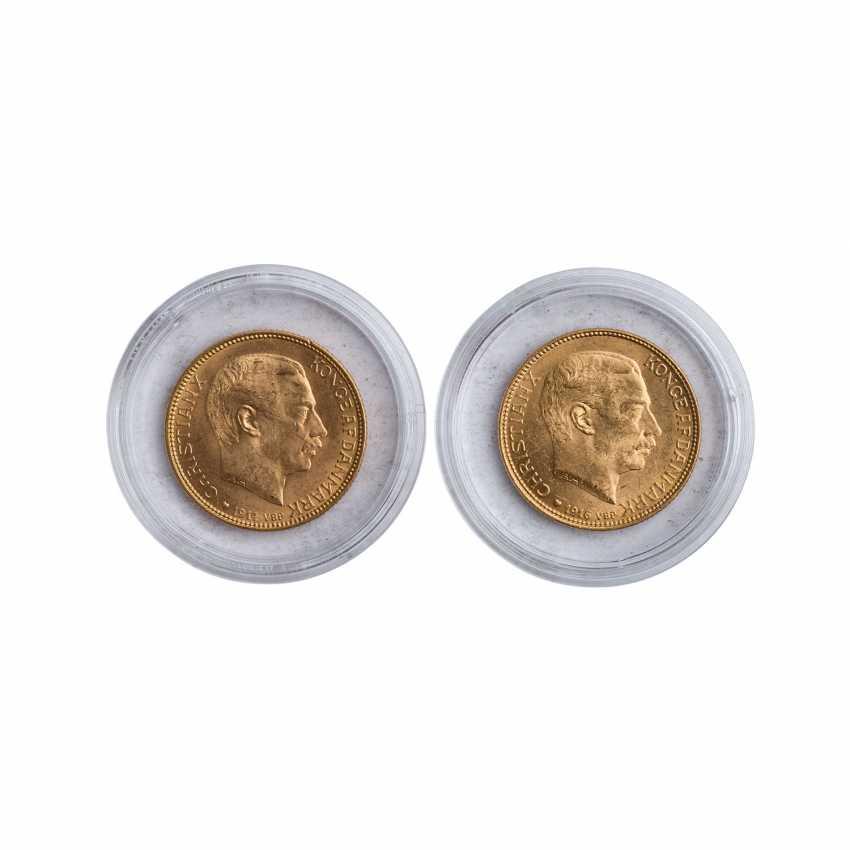 Denmark - 1 x 20 Kronen 1914 and 1 x 20 kroner 1916, Christian X., the ss+, - photo 1