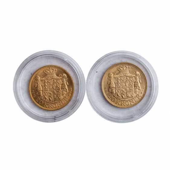 Denmark - 1 x 20 Kronen 1914 and 1 x 20 kroner 1916, Christian X., the ss+, - photo 2