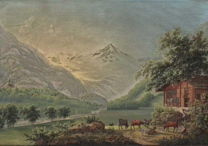 Bleuler, Johann Heinrich. Mountain landscape with HOMESTEAD and weidendem cattle - photo 1