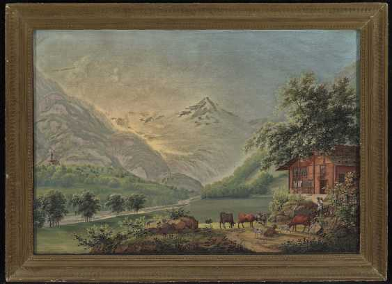 Bleuler, Johann Heinrich. Mountain landscape with HOMESTEAD and weidendem cattle - photo 2
