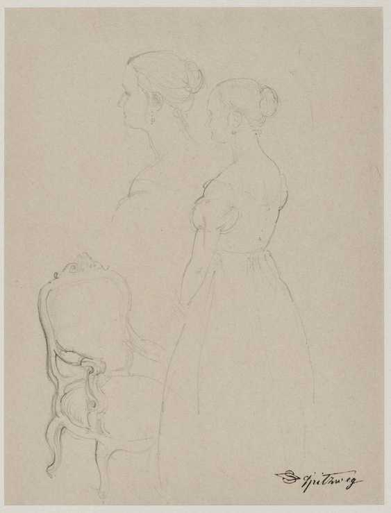 Spitzweg, Carl. Studies of a young woman in front of an armchair - photo 1