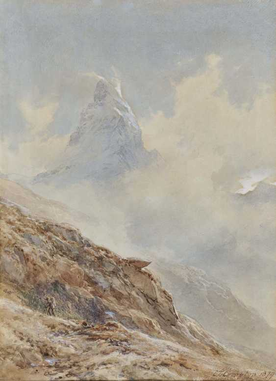 Compton, Edward Theodore. Hikers in front of the cloud-shrouded Matterhorn - photo 1