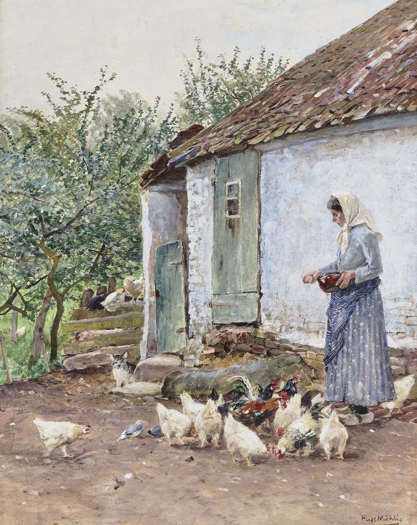 Mühlig, Hugo. The corner of a house with chickens - photo 1