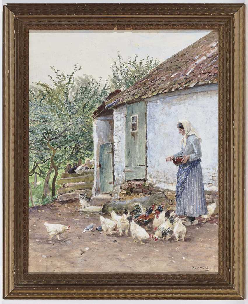 Mühlig, Hugo. The corner of a house with chickens - photo 2
