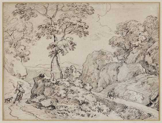 Dillis, Johann Georg von. Tree-lined rocky landscape with travellers - photo 1