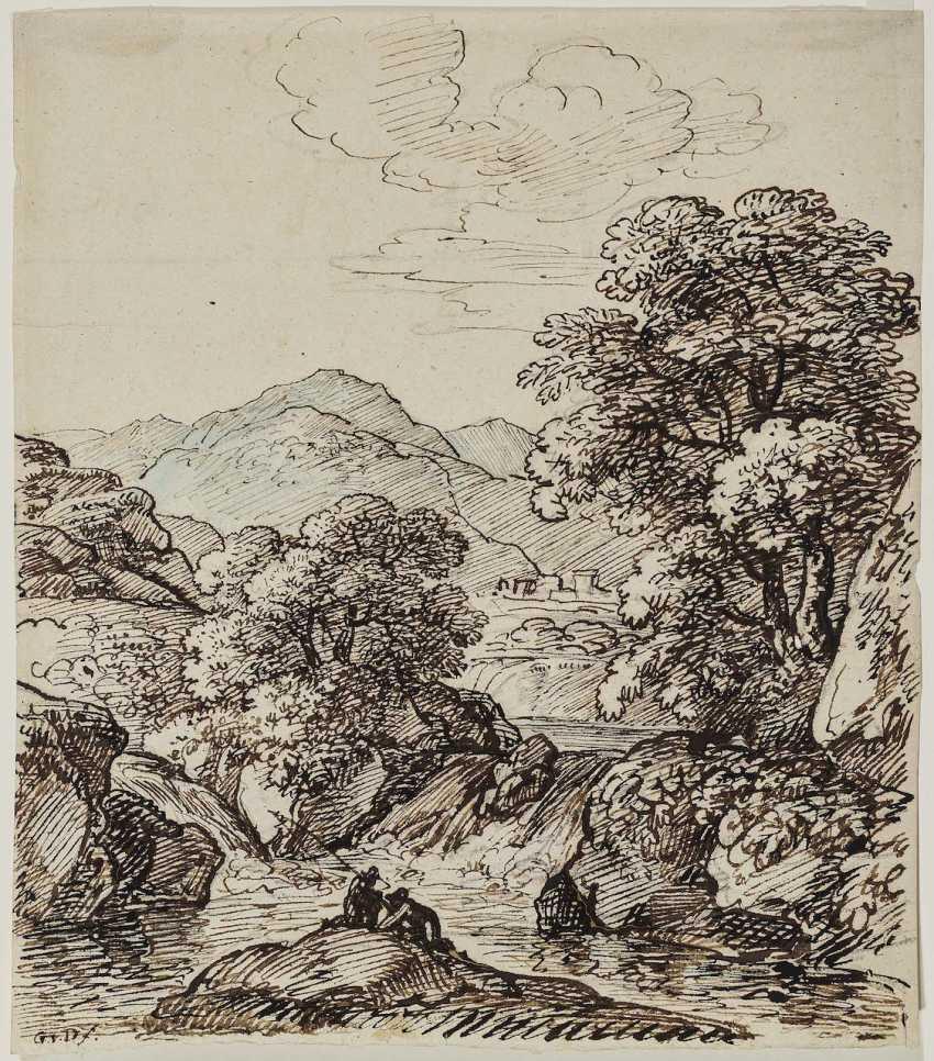 Dillis, Johann Georg von. Anglers on a mountain stream (Grottaferrata) - photo 1