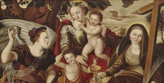 Flemish, 2. Half of the 16th century. Century. Mary with child and John the boys ' and the personifications of hope and faith - photo 1