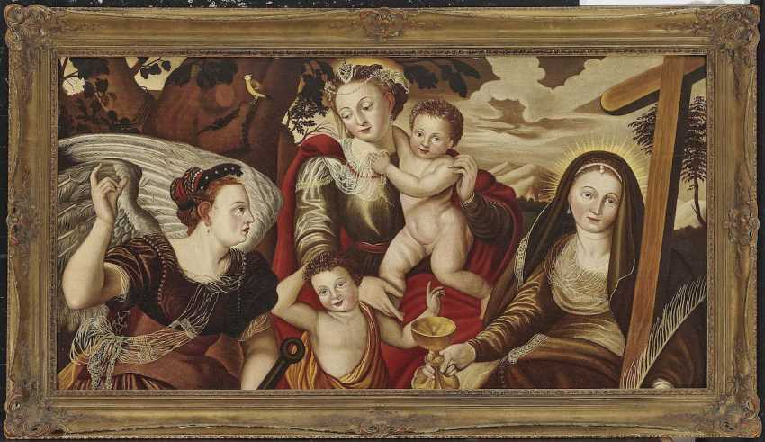 Flemish, 2. Half of the 16th century. Century. Mary with child and John the boys ' and the personifications of hope and faith - photo 2