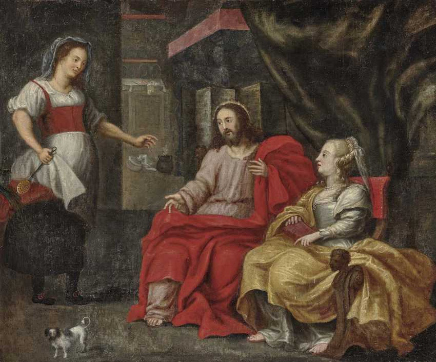 Flemish, 17. Century. Christ in the house of Mary and Martha - photo 1