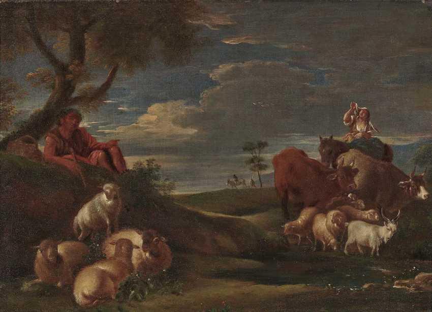 Roos, gene. Rosa da Tivoli, Philipp Peter, the district. Shepherds with cattle - photo 1
