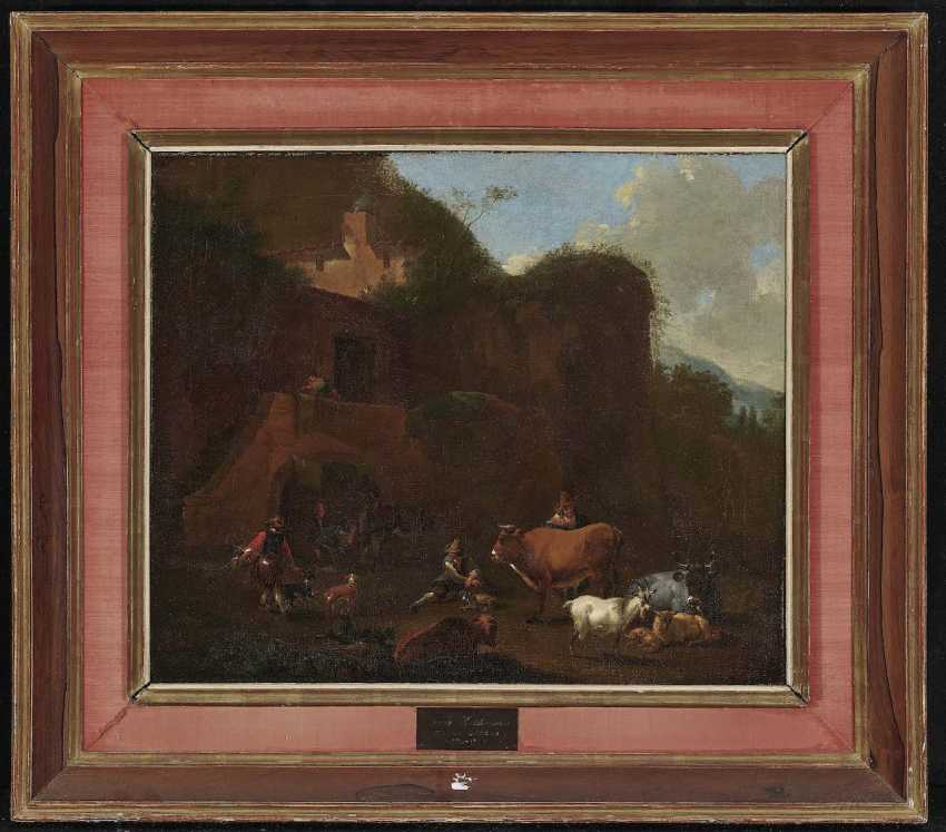 Berchem, Nicolaes, kind of. Southern rocky landscape with peasants and cattle - photo 2