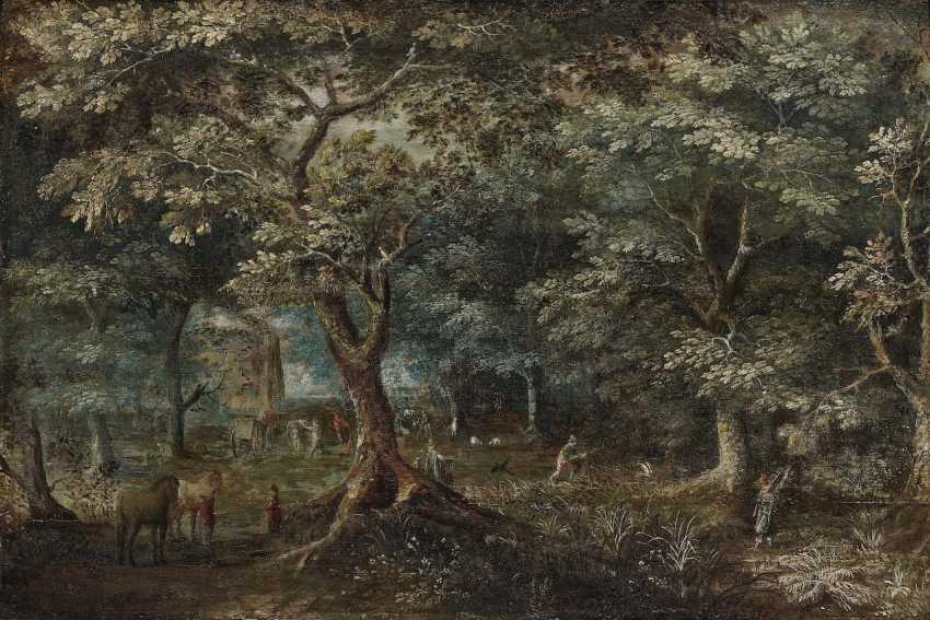 Flemish, 17. Century. Forest landscape with figure staffage - photo 1