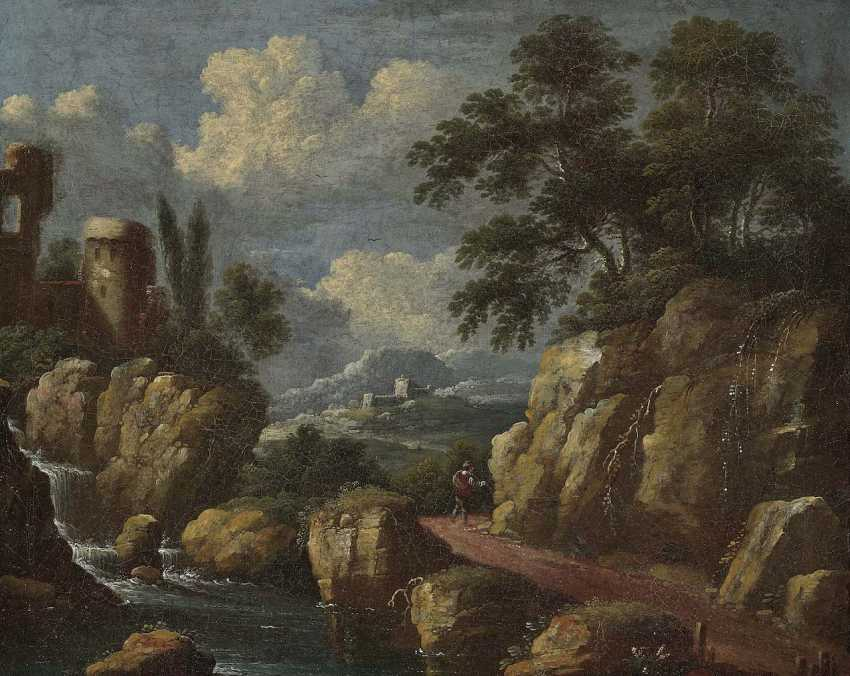 Netherlands, 17. Century. Hikers in a rocky landscape - photo 1