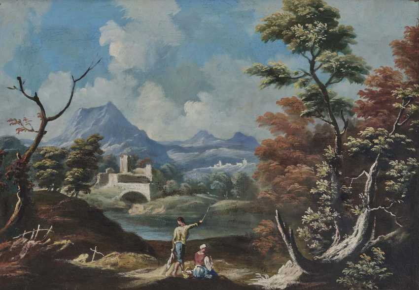 Italy, 18. Century (?). Locking peasant couple on the river Bank in a mountainous landscape - photo 1