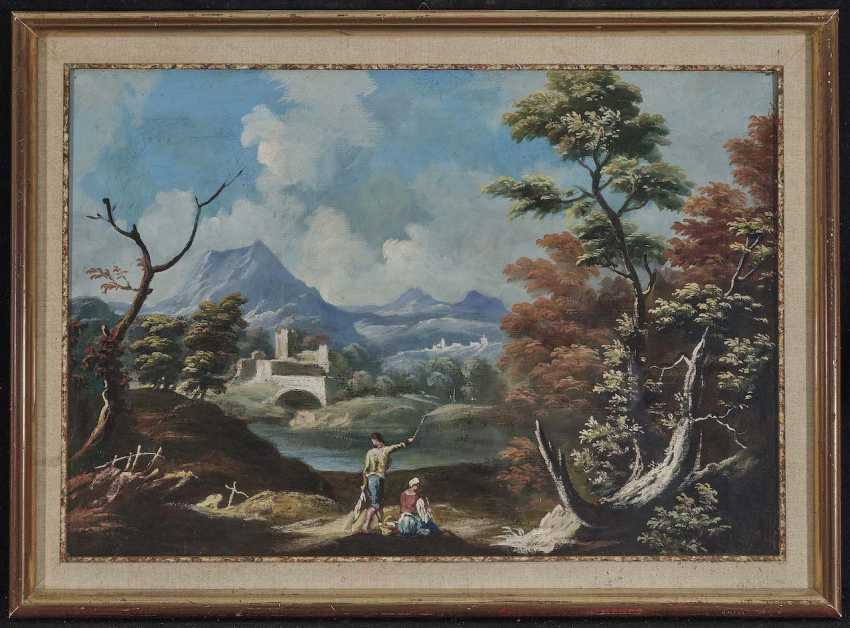 Italy, 18. Century (?). Locking peasant couple on the river Bank in a mountainous landscape - photo 2