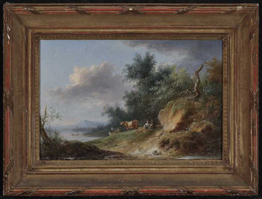France (?), 18./19. Century. Riverside landscape with rastendem shepherds few, and livestock - photo 2