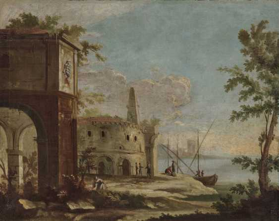 France (?), 18. Century. Shore landscapes with ruins and figure staffage - photo 1