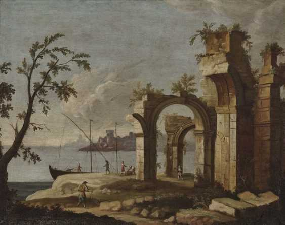 France (?), 18. Century. Shore landscapes with ruins and figure staffage - photo 2