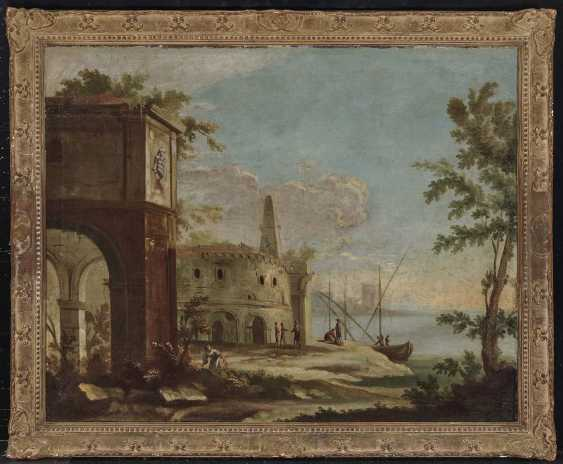 France (?), 18. Century. Shore landscapes with ruins and figure staffage - photo 3