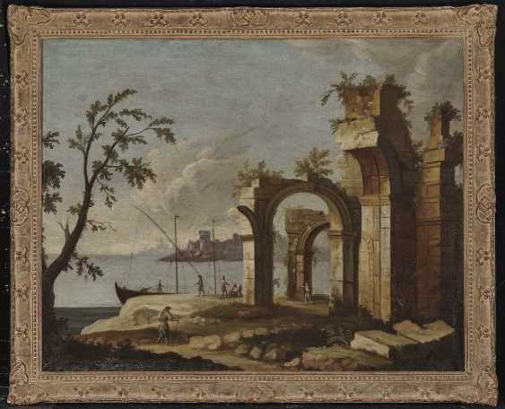 France (?), 18. Century. Shore landscapes with ruins and figure staffage - photo 4