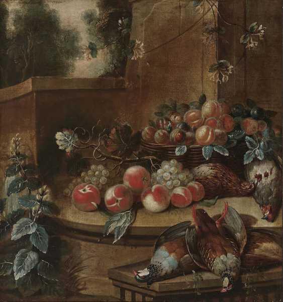 Flemish (?), 18. Century. Still life with fruits and slain birds - photo 1