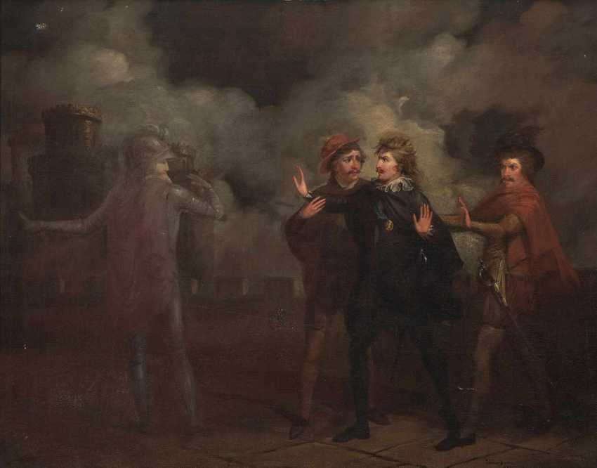 Denmark (?), 19. Century . Scene from Hamlet, Hamlet encounters the Ghost of his father - photo 1