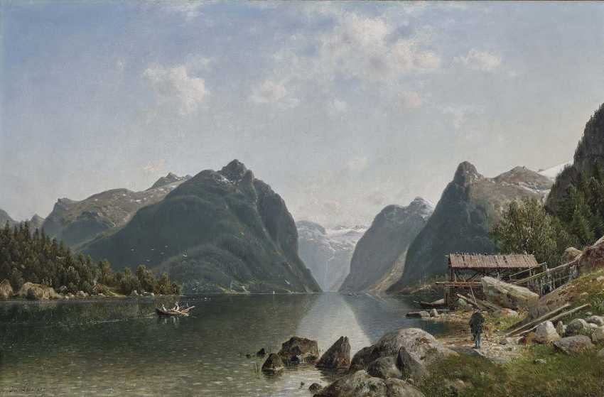 Duntze, Johannes Bartholomäus. Fjord landscape with figure staffage - photo 1