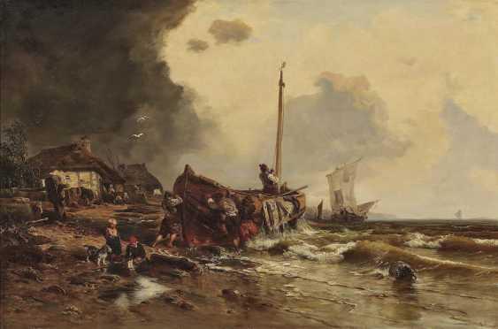 Düsseldorf (?), 2. Half of the 19th century. Century. Fishing boats on the beach - photo 1