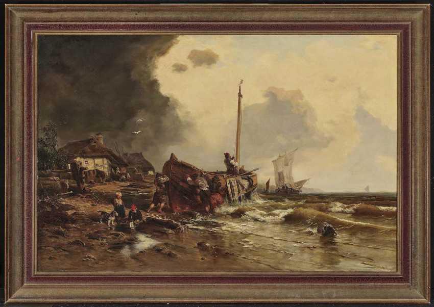 Düsseldorf (?), 2. Half of the 19th century. Century. Fishing boats on the beach - photo 3