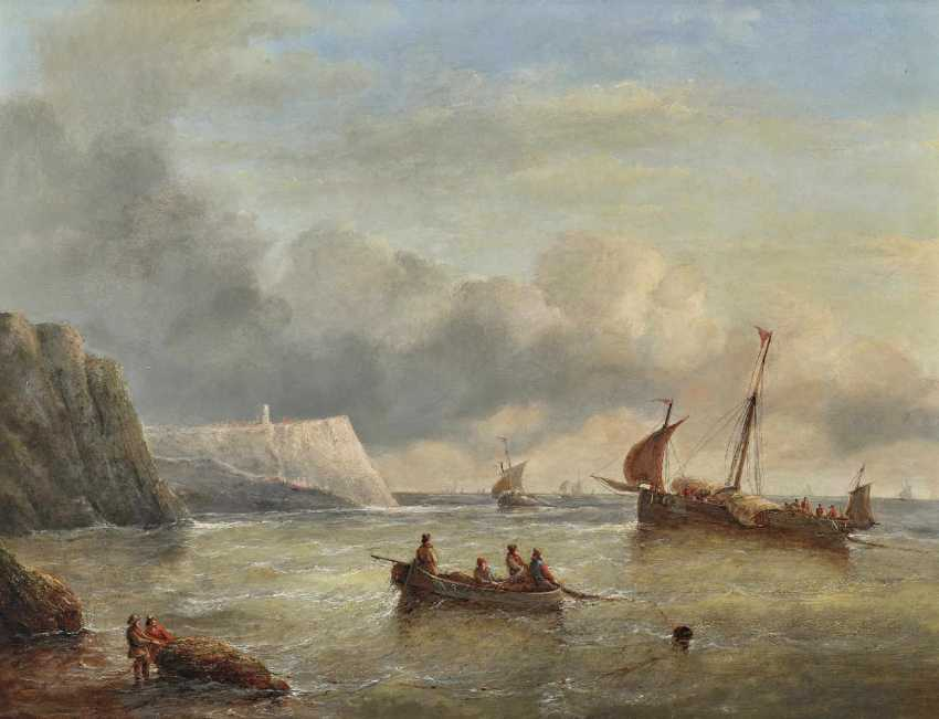 Mans, Christiaan Cornelis May. Fishermen and sailing boats in front of the channel coast - photo 1
