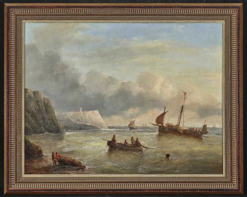Mans, Christiaan Cornelis May. Fishermen and sailing boats in front of the channel coast - photo 2