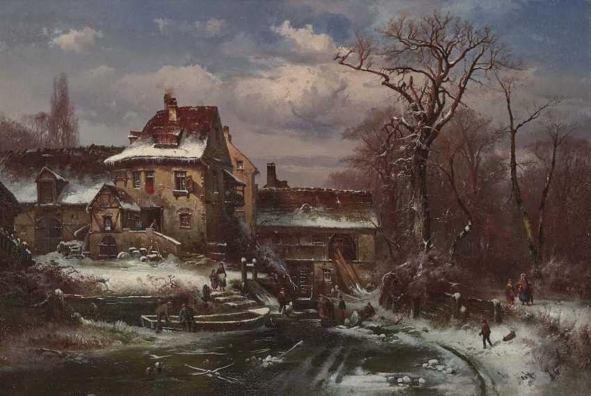 Veit, Hugo. Winter landscape with farmhouse and figure staffage - photo 1