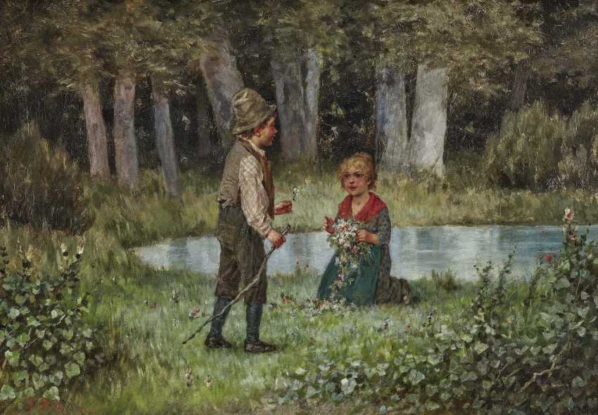Schlesinger, Felix. Two children on a meadow of Flowers - photo 1