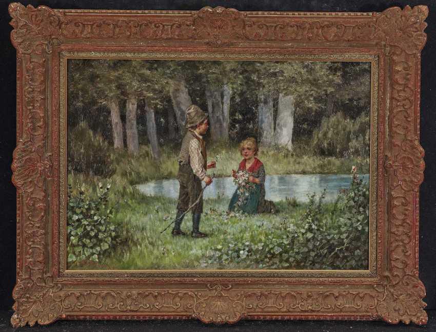 Schlesinger, Felix. Two children on a meadow of Flowers - photo 2