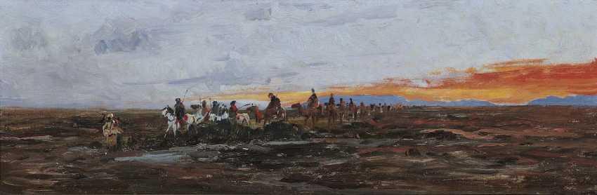 Kuhnert, Wilhelm. Caravan in the evening light on the water - photo 1