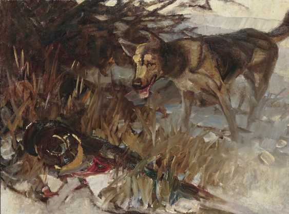 Zügel, Heinrich von. Dog barking at a pheasant - photo 1