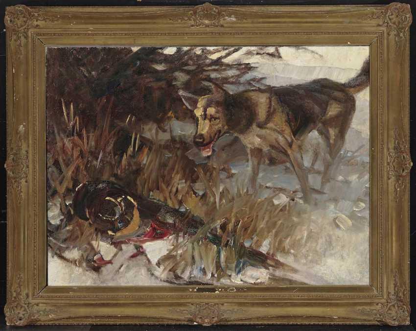 Zügel, Heinrich von. Dog barking at a pheasant - photo 2