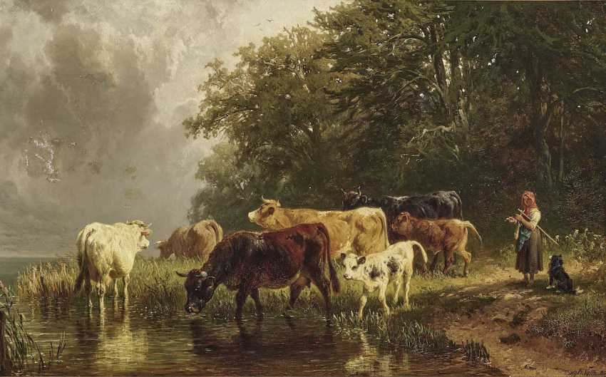 Voltz, Johann Friedrich. Shepherdess with cattle on the water - photo 1