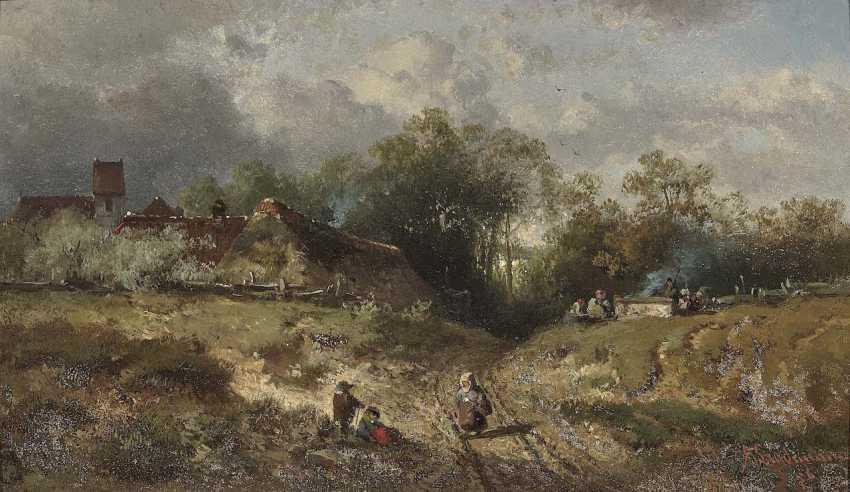 Stade Man, Adolf. Village landscape with figure staffage - photo 1