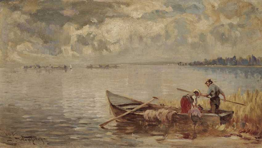 Wopfner, Josef. Fishing boat on the shore of lake Chiemsee - photo 1