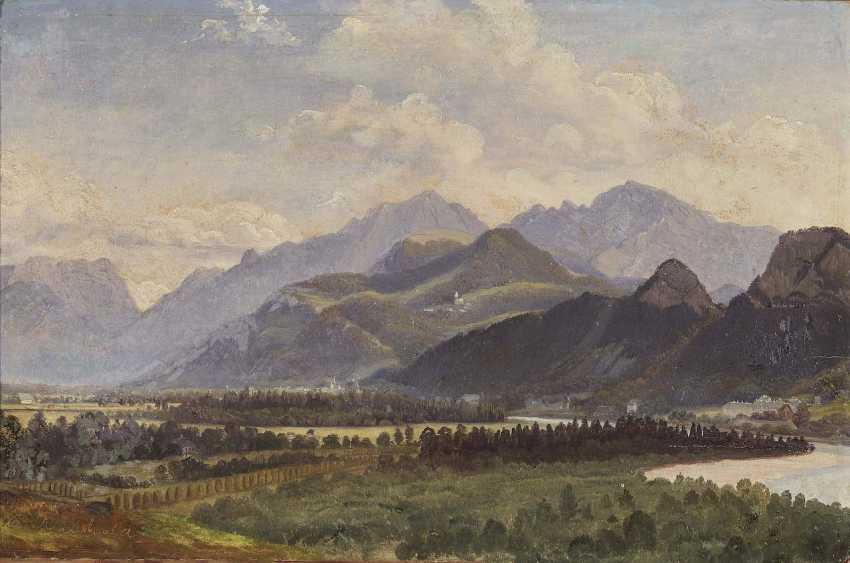 Reinhold, Karl. View of Hallein against the High Göll - photo 1