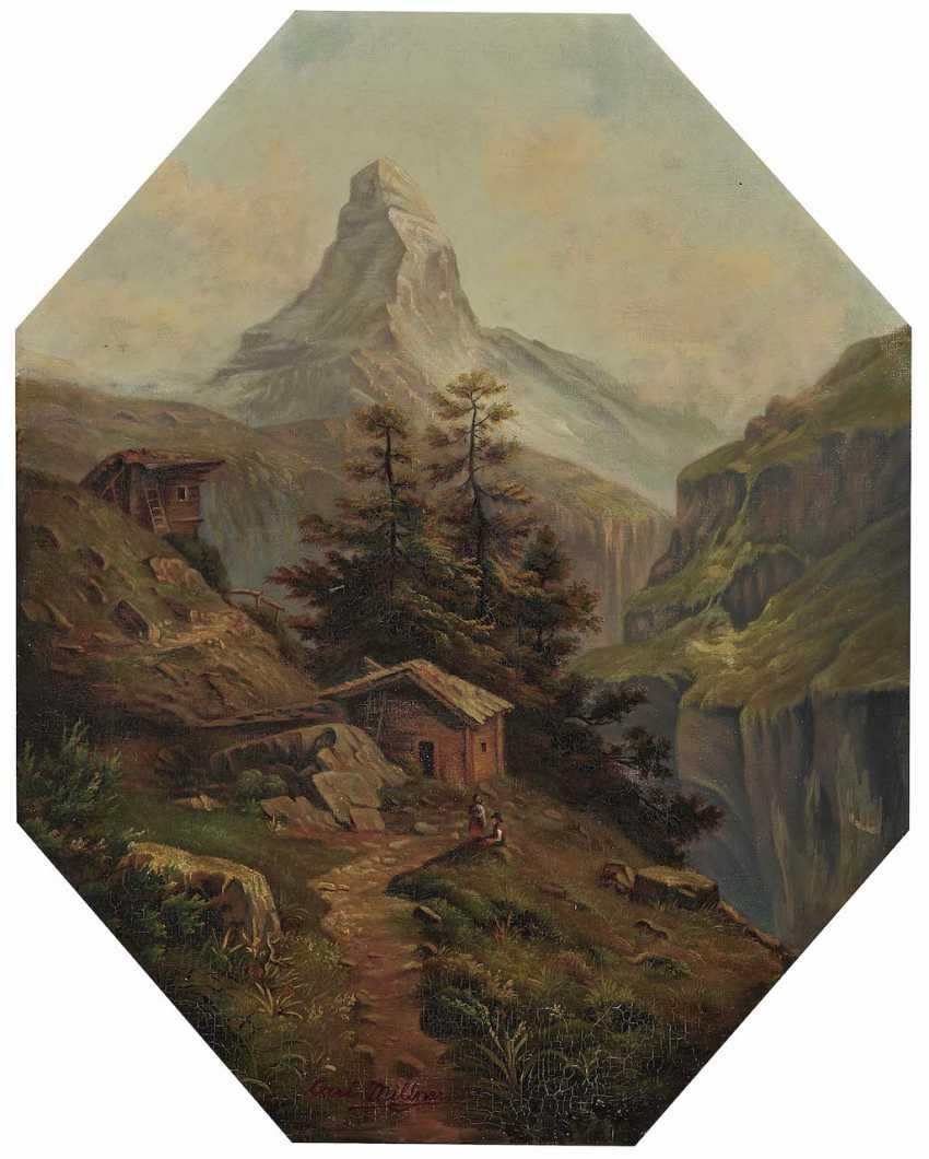 Millner, Carl. Mountain landscape with views of the Matterhorn - photo 1