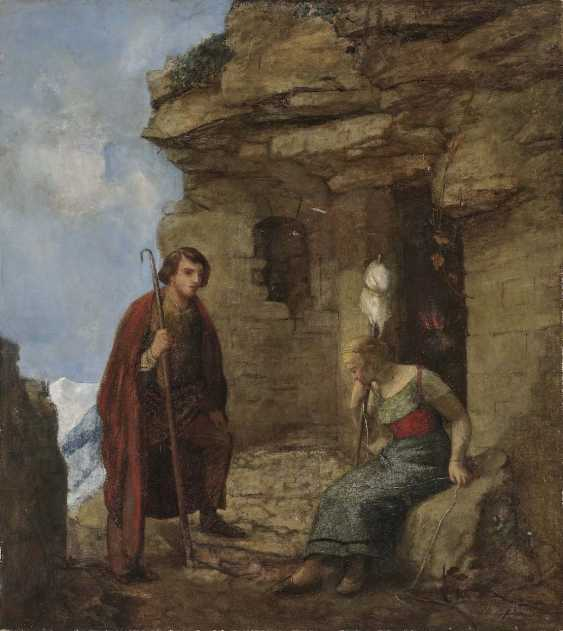 Fröhlich, Otto. Young maid on the spinning rock with a shepherd in front of the rock apartment - photo 1