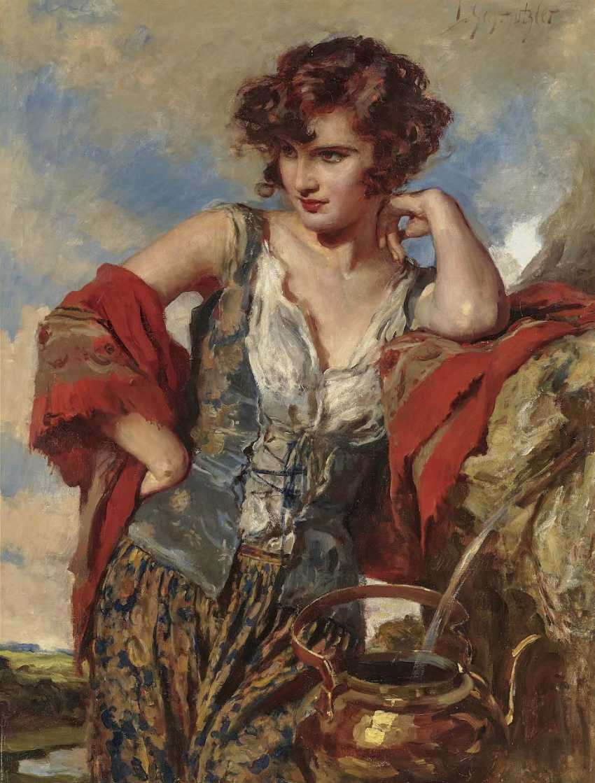 Schmutzler, Leopold. Young woman at a fountain - photo 1